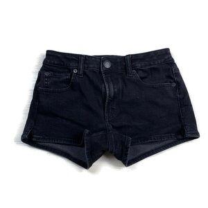 American Eagle Hi Rise Short Shorts Denim Black